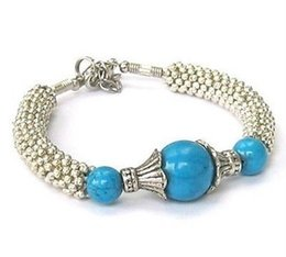 Wholesale cheap NEW IN TIBET STYLE TIBETAN SILVER TURQUOISE BRACELET
