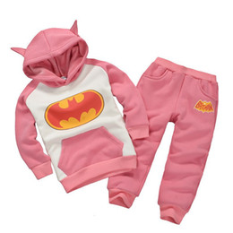 Wholesale Pink Batman Girls Clothes Sets Winter Fleece Hooded Jacket Coats Trousers Suit Children Tracksuit Outfits Hot Sale