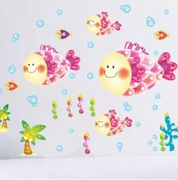 Wholesale Lovely Cartoon Smiling Fish Coral Bubble Wall Stickers For Kids Rooms Home Decoration DIY Papel De Parede Infantil
