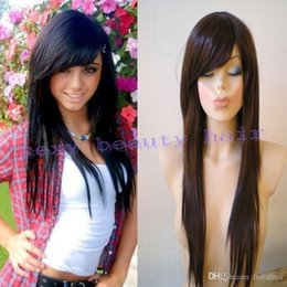 Wholesale 100 unprocessed brazilian straight virgin hair glueless full lace wigs lace front wigs with bangs best quality side bang wig baby hair