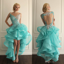 2016 Sexy Vestido High Low Backless Prom Dresses Blue Sheer V Neck Lace Top Ruffles Organza Party Gowns Homecoming Dresses