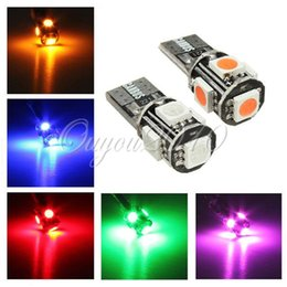 10pcs lot T10 W5W 194 168 Canbus Error Free 5 SMD 5050 LED Car Side Lights Bulbs Blue Red Green Yellow Pink 12V Free Shipping