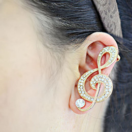 Genuine Gold Plated Full Crystal Musical Note Ear Cuff Stud Earrings For Women Jewelry brincos Earrings