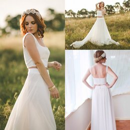 2019 Two Piece Vintage Wedding Dresses Bohemia Beach Bridal Gowns A-Line Square Backless Cheap Bridal Dresses for Wedding