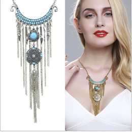 Wholesale 2016 Europe and America revive old customs race breeze necklace new amount of money decorate the tassels loosen stone coin several set chain