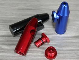 Wholesale Aluminum metal Bullet Rocket Shaped Snuff Snorter Sniff Dispenser Nasal Smoking Pipe Sniffer glass bongs Endurable Tobacco Pipe DHL free