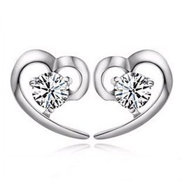 white gold plating 925 sterling silver genuine earrings purple zircon heart design stud earring guangzhou wholesale