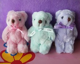 Wholesale and Retail Promotional gift plush toys doll teddy bear with santi bow colors cm