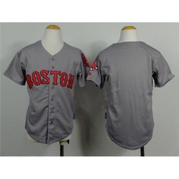Uniformes económicas para los niños en Línea-Gris para niños jerseys de béisbol Red Sox de béisbol fresco juventud viste de 2015 Uniformes Nueva Colección béisbol de los muchachos baratos bordado prendas deportivas de la marca