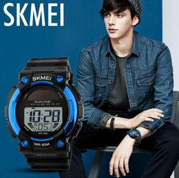 Solar Lithium Battery Shock and Water Proof Multifunction Sport Wrist watch Chrono Alarm Watches Blue 1126