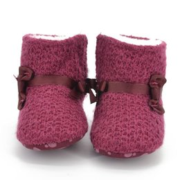 Wholesale Baby Girls Knitted Snow Boots Warm Fleece Crib Shoes Soft Shoes Month New Arrival