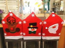 Wholesale 3 Christmas Chair Back Covers Santa Snowman Elk Hat Style Best Christmas Decorations for Christmas Dinner and Party Hot Sale