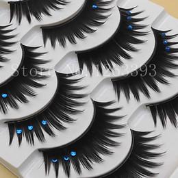 2016Handmade False Eyelashes Color Blue Crystal Thick False Eyelashes Exaggerated Stage Makeup Blue Eyelash Crystal Eyelashes