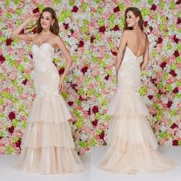 Wholesale Mermaid Bridesmaid Dresses Wedding Evening Gowns Angela and Alison New Arrival Sweetheart Low Back Appliques Tiers Skirt Prom Dresses