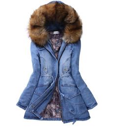Wholesale-winter woman coat 2015 cotton fur hooded denim jacket pockets jean coats FreeShipping