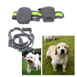 Wholesale Soft Running Leash for Pets Dogs Elastic Hands free Waist Belt Strap Traction Rope with Water Bottle Holder Dog Treats Bag H15373