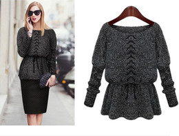 Wholesale Latest Europe and the United States Fashion Short Knitted Sweaters Pullover Collect Waist Line Long Sleeve Women s Sweaters Coat Outwear