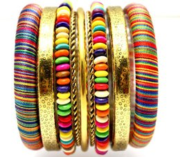 Wholesale LADYMEE Bracelet Pulseiras Bangles Indian Jewelry Vintage Wooden Beaded Antique Gold Plated Bangle Bracelets for Women Joyeria