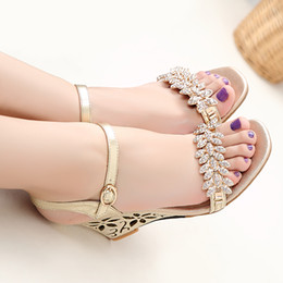 2016 Large size 33-43 high wedge heel solid sheepskin genuine leather rhinestones open toes buckle strap lady shoes women sandals WV&H06-11