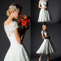 Wholesale Cheap Lace Gowns China - vintage wedding dress short sleeves wedding gowns button back lace bridal dresses china tea length cheap wedding dresses bridal gowns