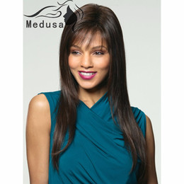 Medusa hair products: Free shipping Synthetic pastel wigs for women Fashionable long hairstyle straight Dark brown wig with bangs