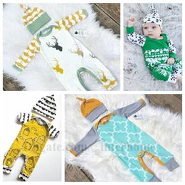 Wholesale Baby Ins Clothing Sets Ins Christmas Suits Outfits Xmas Rompers Beanie Christmas Deer Onesies Hats Ins Bodysuit Skull Cap Jumpsuit B1227