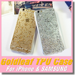 Wholesale Bling Platinum Fashion TPU Soft Silicone Glitter Golden Silver Powder Goldleaf Foil Case For iPhone S Plus Clear Jelly Transparent Covers