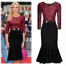 Wholesale Vintage Burgundy Black Women Midi Clothing Lace Mermaid Bodycon Dress Belt Sleeves Evening Party Work Business Office Dress OXL994