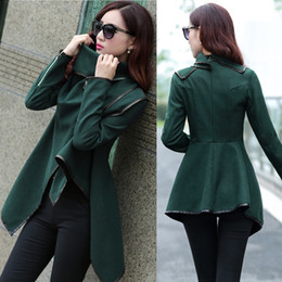 Women Fall Winter Clothes 2016 New European American Wool & Blends Coats Ladies Trim Personality Asymmetric Rules Short Jacket