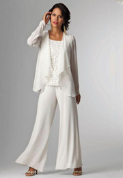 Wholesale Ivory White Chiffon Lady Mother Pants Suits Mother of The Bride Groom mother bride pant suits With Jacket Women Party Dresses trouser suits