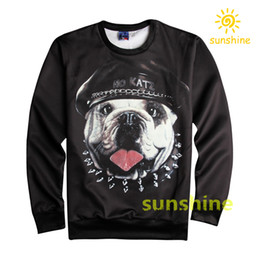 Wholesale 2016 new fashion cute puppy pic china silk cotton blend D print hoodie womens mens sweatshirts sizes inc bargain