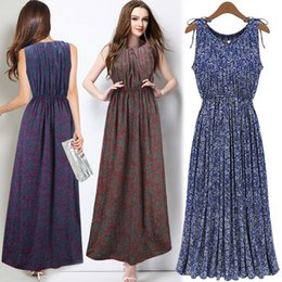 Wholesale Plus size floral print dresses for women bohemian long womens dresses for beach street maxe dresses summer womens clothing bulk price