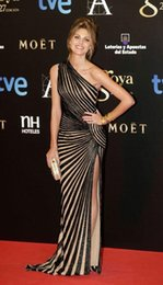 Wholesale New Black Sequins Zuhair Murad Mermaid Long Formal Evening Dresses One Shoulder Nude Underwear High Slit Sexy Celebrity Gowns