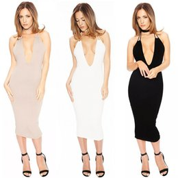 Wholesale Sexy Women s braces Skirt Slip Dress backless sleeveless Bodycon Bandage Night out Club Party Wear Slip midi Dress
