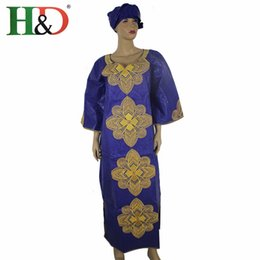 Wholesale Bazin cotton clothing African woman African woman rich woman dress embroidery design production process contains a headscarf S2427