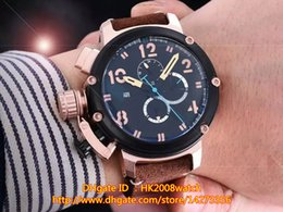 Wholesale New Luxury High Quality Chimera Bronze MM Automatic Mechanical Men Watch Black Dial Mens Leather Strap Watches UB57 Gift Wood Box