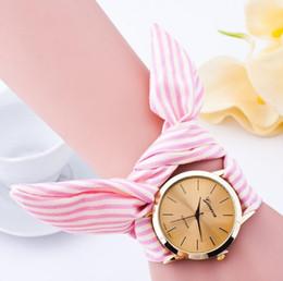 New design Ladies Stripe Floral Cloth wrist watch fashion women dress watch high quality fabric watch sweet girls watch