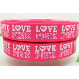 "7 8"" 22mm Popular Shocking Pink Love Pink Letters Printed Grosgrain Ribbon Bow Crafts Decos DIY Hair Accessory 50 100Y A2-22-363"