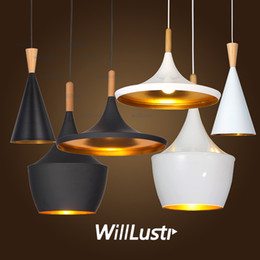 Instrument ABC beat Light suspension lighting outside black inside gold wood metal material fat wide tall pendant lamp