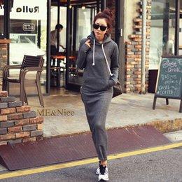 Automne Hiver Femmes Noir Pull Sweat Gris Warm Fur Fleece Hoodies Longue Manche Slim Maxi Long Robes Femmes Robes à partir de hoodie de la fourrure pour les femmes fournisseurs