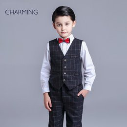 Wholesale Brand New boys dress vest and pants sets boys piece suit High quality fabrics designer suits for kids From china suppliers