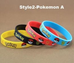 Wholesale Silicone Bracelets toys Style Children Poke Ball Sylveon Pikachu Charmander Bulbasaur Outdoors Sport AAAA Quality Free size Bracelets