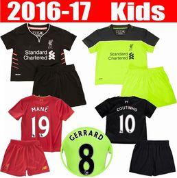 Wholesale 2016 kids liverpool jerseys GERRARD LALLANA LUCAS COUTINHO FIRMINO STURRIDGE MANE boys youth Football Shirt camisetas de futbol