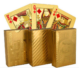 hot 3 designs Gold foil plated playing cards Plastic Poker US dollar   Euro Style   General style D663