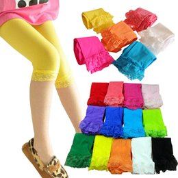 Wholesale kids baby girls velvet candy color leggings summer girls lace leggings children Cropped Pants in stock