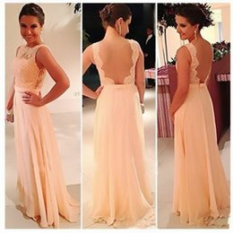 Hot Selling High Quality U Open Back Chiffon Lace Long Peach Color Bridesmaid Dress Party Dress