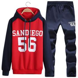 Wholesale Moda para hombre ropa de deporte del juego del deporte de la manera de los hombres ocasionales mens diseño de letra hombres chándal de algodón sudaderas con capucha y pantalones