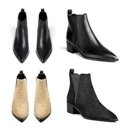 Wholesale Acne Studios Jensen Women Genuine Leather Ankle Boots Pointed Toe metal Low Heels Female Designer Top Quality Autumn Footwear Short Boots