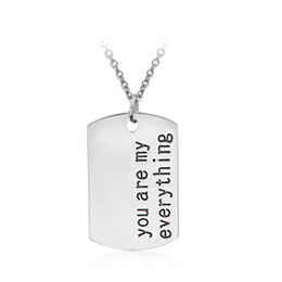 Lovers Drop Necklace Valentine's Day Gift For Women Girls Necklace Engrave Letters you are my everything Charm Necklace