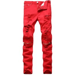 Wholesale-2016 Hip Hop Red Men Trousers Casual Cotton Zipper Distressed Masculina Pants Biker Skinny Hole Rock Jeans Homme MYA0400